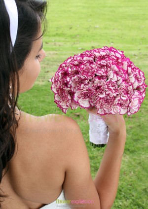 Purple & White Carnations Bridal Bouquet