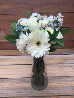 My Everything Boquet - White Roses and Gerberas