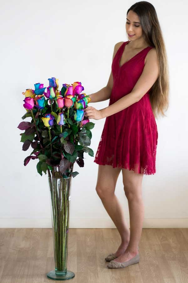 4 Foot Tall Color Explosion TM Rainbow Roses