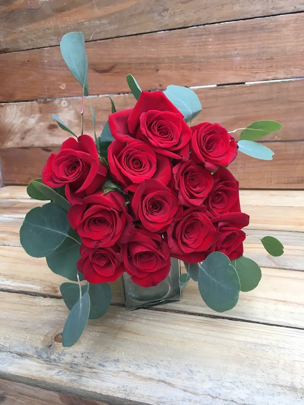 Be Mine - Red Roses Bouquet Eucalyptus