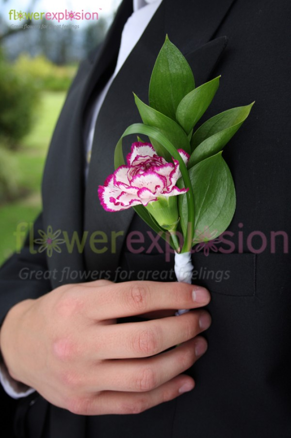 Purple & White Carnations Boutonniere