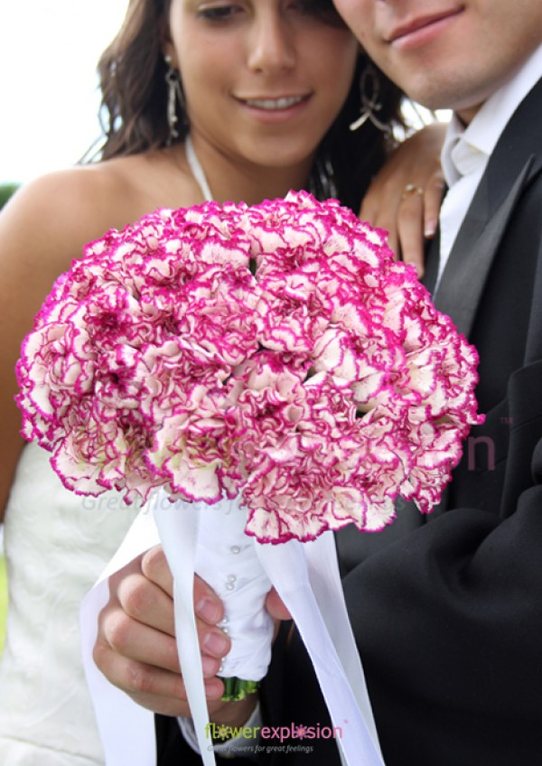 Purple & White Carnations Toss Away  Bouquet