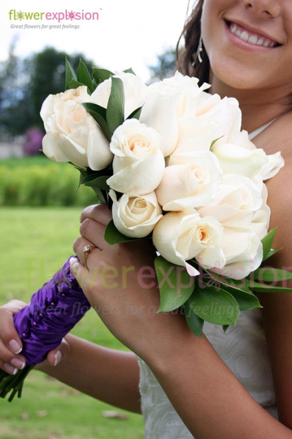White Roses Bridal Bouquet with Purple Lace