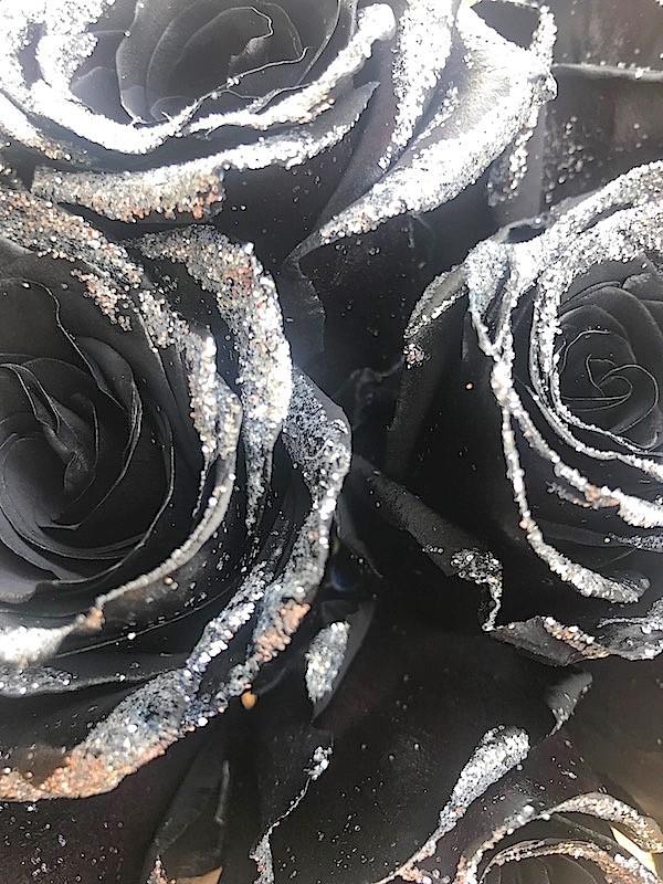 glittered black rose