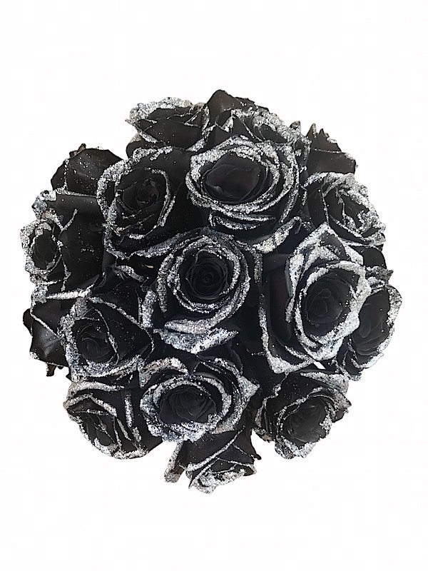 tinted black roses with glitter