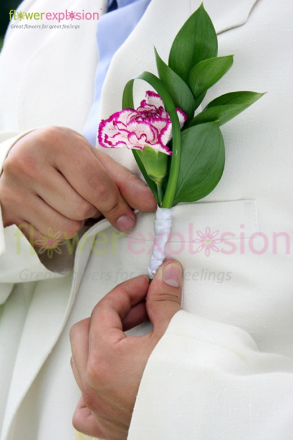 Purple & White Carnations Groom's Boutonniere