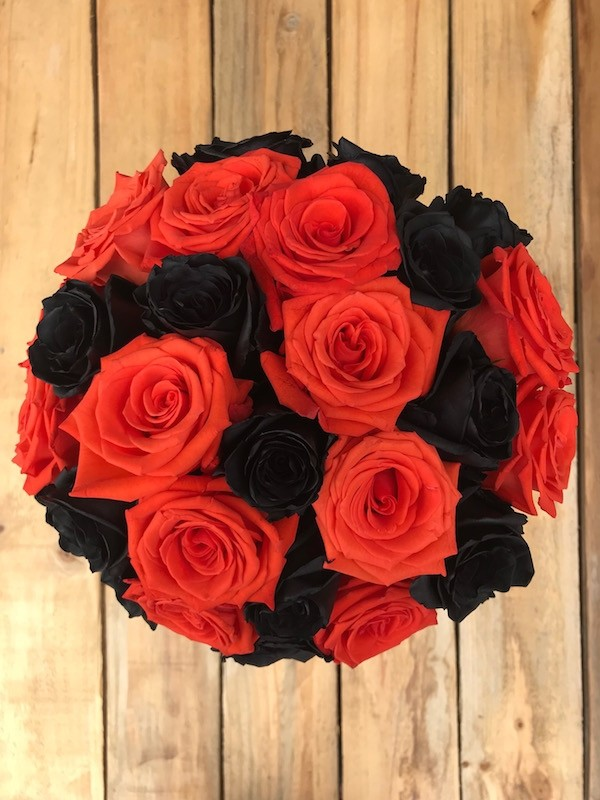 Orange and Tinted Black Roses