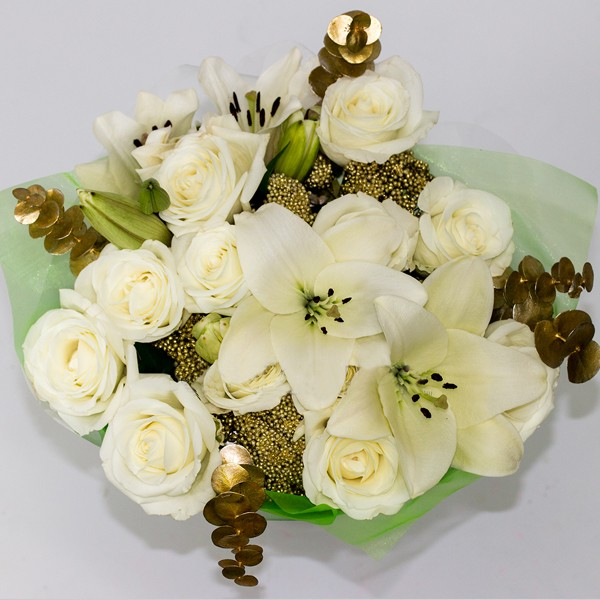 White/Gold Mix Centerpiece Large