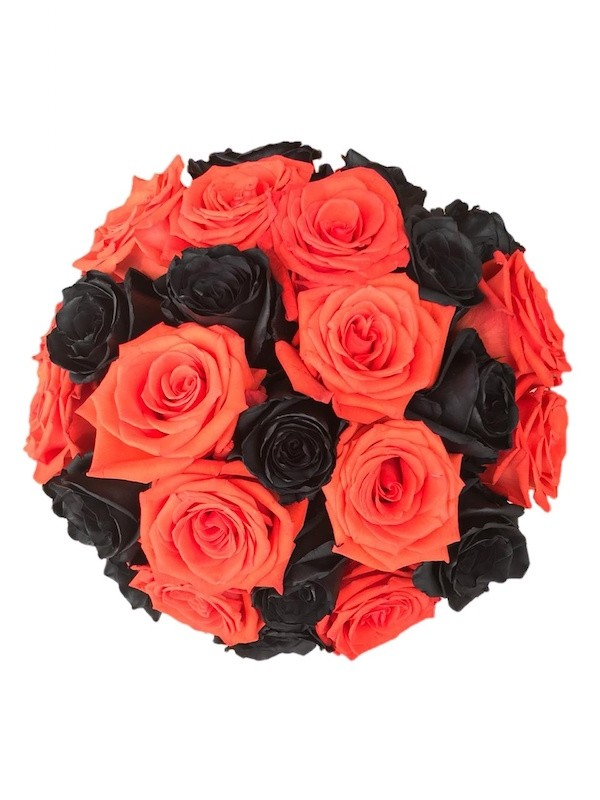 Black and Orange Rose Bouquet