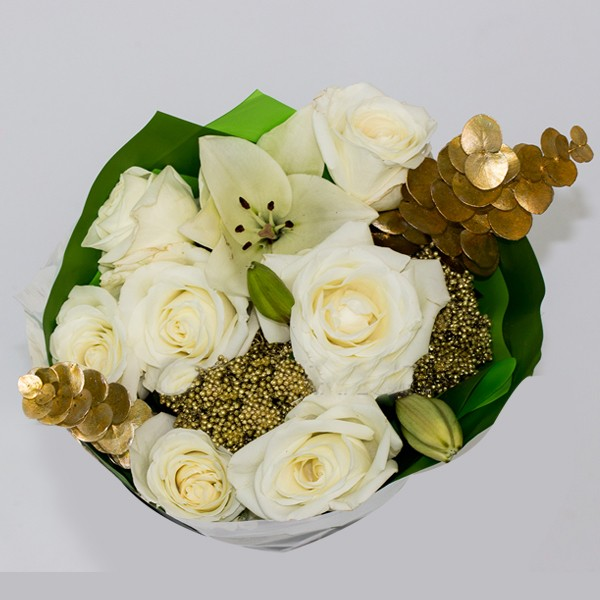 White/Gold Mix Centerpiece Medium