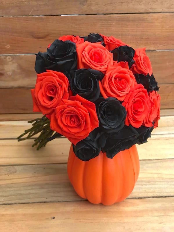 roses on a pumpkin
