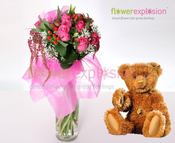 To the Best mom Bouquet w/ Vase & Teddy Bear