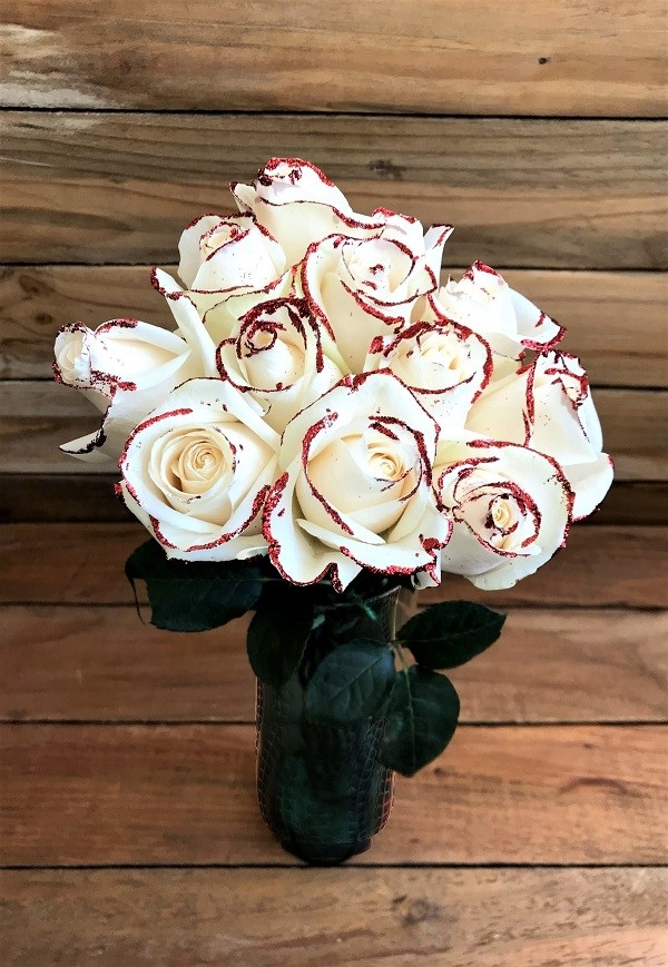white roses with glitter bouquet