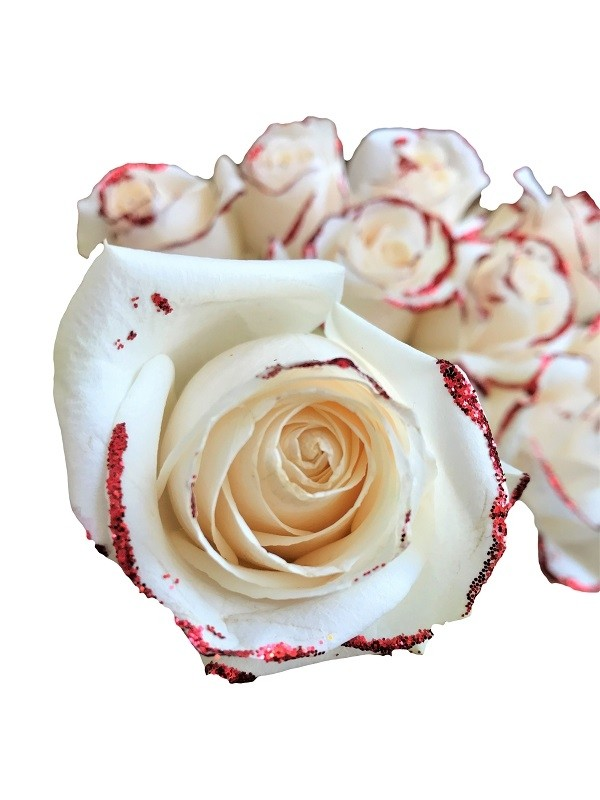 white rose with red glitter