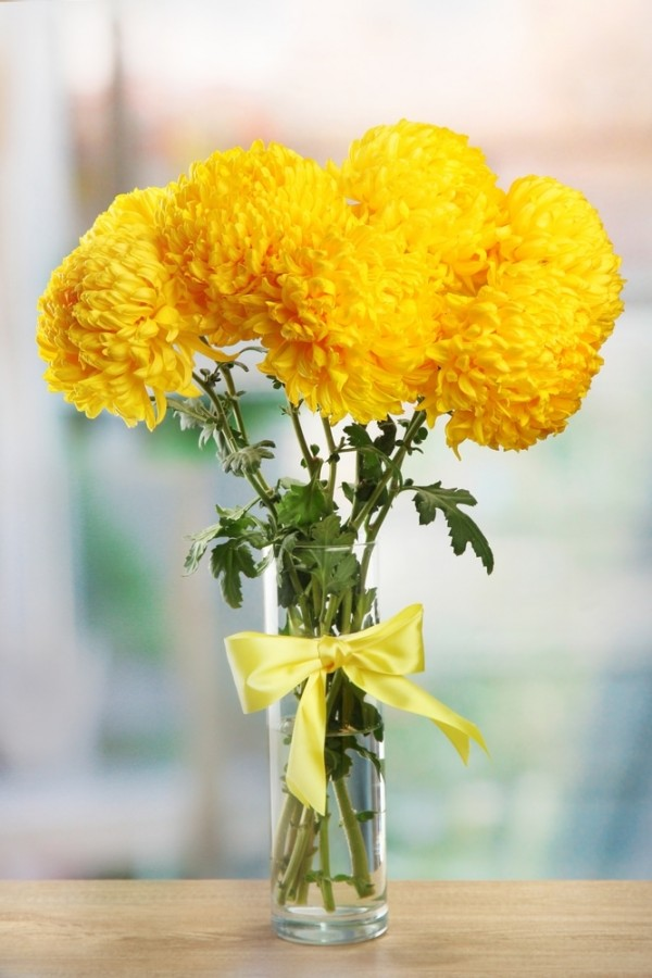 Yellow Football Mum Bouquet